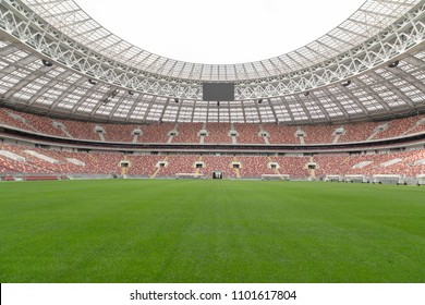 Moscow, Russia - 05.19.2018. Football playing field of the Luzhniki Stadium, which was reconstructed before FIFA World Cup 2018.