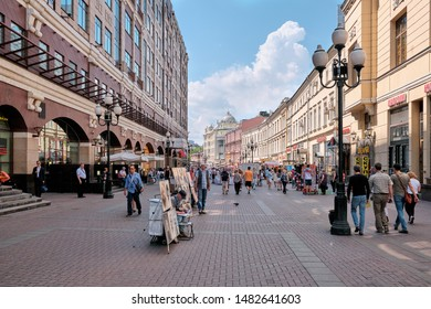 Moscow \ Russia 06 10 2019: Arbat is a street in the Central Administrative District of Moscow (Arbat District).