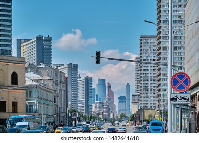 Moscow \ Russia 06 10 2019: Novy Arbat Street, cloudy sky. View of Novy Arbat and Moscow city