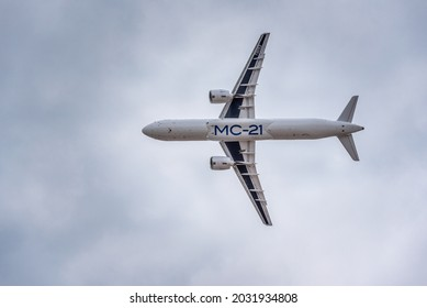 Moscow, Russia - 07 25 2021: The Irkut MC-21 300, Russia's newest passenger aircraft, overflies the crowd at the International Aviation and Space Salon MAKS 2021. This is test aircraft n.3