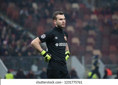 MOSCOW, RUSSIA - 07 NOVEMBER, 2018. Luzhniki Stadium. Igor Akinfeev in the match of UEFA Champions League between CSKA (Moscow.Russia) and Roma (Roma.Italy)