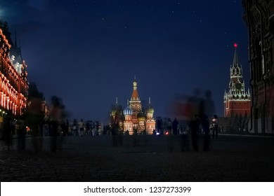Moscow - Russia - 07-07-2010: Red Square (Russian: Krasnaya ploshchad) at night with stars