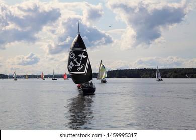 Moscow, Russia, 07.07.2019: Regatta Fleet Association Cup quater on Pirogov Reservoir.