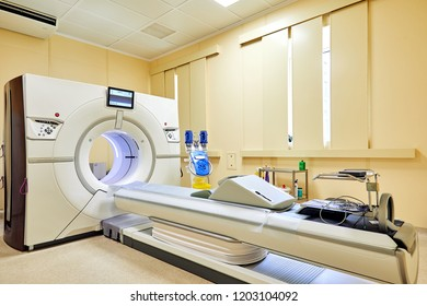 Moscow, Russia, 07.08.2018: interior tomograph x-ray room