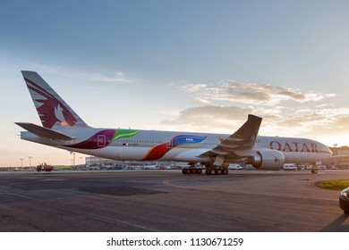 Moscow / Russia - 07.09.2018. Domodedovo International Airport.  Passenger aircraft Boeing 777 of Qatar Airways in special football livery «FIFA. World Cup 2022». Presentation of a new livery.