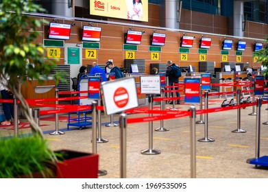 MOSCOW, RUSSIA - 07May, 2021: check-in area in Sheremetyevo International Airport. check-in counters at Sheremetyevo airport, terminal D