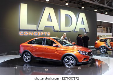 Moscow / Russia – 08 31 2016: Russian concept car LADA Vesta Cross Concept with people visitors on stand at exhibition Moscow International Automobile Salon MMAS 2016 in Crocus Expo, motor show