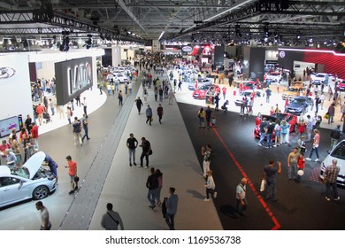 Moscow / Russia – 08 31 2018: Top view of exhibition stands and visitors on automotive transport exhibition Moscow International Automobile Salon MMAS 2018 MIAS in Crocus Expo motor show