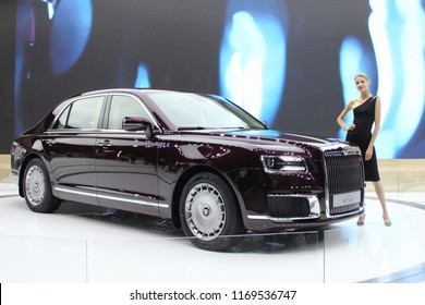 Moscow / Russia – 08 31 2018: World premiere -  3/4 side view of new russian elite car Aurus Senat on exhibition Moscow International Automobile Salon MMAS 2018 MIAS in Crocus Expo, motor show