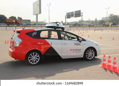 Moscow / Russia – 08 31 2018: Self drive car Yandex Taxi on open territory of automotive exhibition Moscow International Automobile Salon MMAS 2018 MIAS in Crocus Expo, motor show