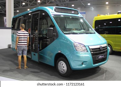 Moscow / Russia – 08 31 2018: Front side view of blue russian commercial mini bus taxi GAZ GAZelle Vahatan on exhibition Moscow International Automobile Salon MMAS 2018 MIAS in Crocus Expo motor show