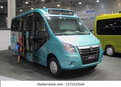 Moscow / Russia – 08 31 2018: Front side view of russian commercial mini bus taxi GAZ GAZelle Vahatan on exhibition Moscow International Automobile Salon MMAS 2018 MIAS in Crocus Expo motor show