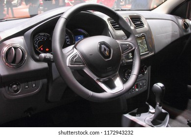 Moscow / Russia – 08 31 2018: Cockpit view - dashboard and steering wheel of car Renault Logan Stepway on exhibition Moscow International Automobile Salon MMAS 2018 MIAS in Crocus Expo motor show