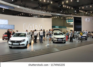 Moscow / Russia – 08 31 2018: Russian Cars LADA Vesta CNG and LADA Vesta SW on exhibition stand LADA in automotive  motor show Moscow International Automobile Salon MMAS 2018 MIAS in Crocus Expo