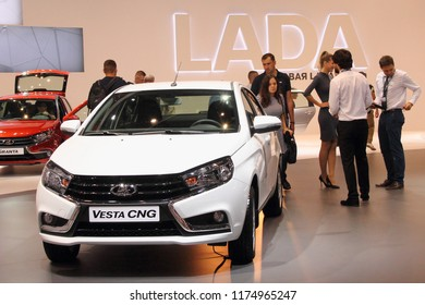 Moscow / Russia – 08 31 2018: Russian Car LADA Vesta CNG, front view on automotive exhibition motorshow Moscow International Automobile Salon MMAS 2018 MIAS in Crocus Expo, autoshow