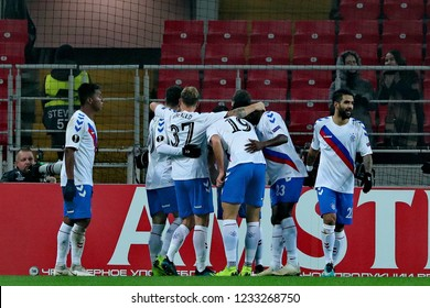 """MOSCOW, RUSSIA - 08 NOVEMBER, 2018. """"Spartak Stadium"""". Players of Rangers FC in the UEFA Europa League match between Spartak (Moscow.Russia) and Rangers (Glasgow.Scotland)."""
