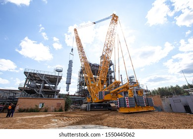 MOSCOW, RUSSIA, 08.2018: The construction of an oil refinery, near Moscow. industrial cranes (LIEBHERR), construction and installation of components of an oil refinery in near Moscow.