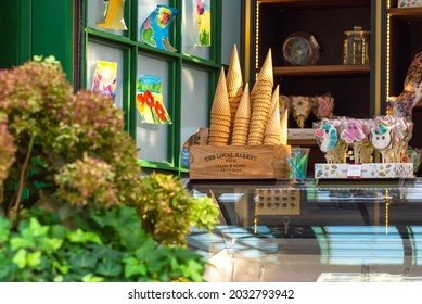 """Moscow, Russia, 08.27.2021: Pavilion with empty and sweets at the festival """"Summer in the City"""""""