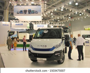 Moscow / Russia – 09 03 2019: Modern city Truck Iveco Daily on Exhibition Comtrans 2019 in Crocus Expo, front view on booth stand