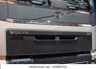 Moscow / Russia – 09 03 2019: Close up front panel of Modern Truck Volvo FH on Exhibition Comtrans 2019 in Crocus Expo