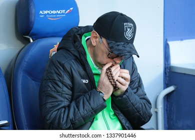 MOSCOW, RUSSIA - 09 MARCH, 2019. Arena CSKA.Head Coach of Rubin Kurban Berdyev in the football match of Russian Premier League 2018/2019 between CSKA (Moscow.Russia) and Rubin (Kazan. Russia)