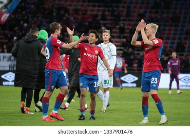 MOSCOW, RUSSIA - 09 MARCH, 2019. Arena CSKA. Jaka Bijol, Takuma Nishimura & Hordur Magnusson in the football match of Russian Premier League 2018/2019 between CSKA (Russia) and Rubin (Russia)