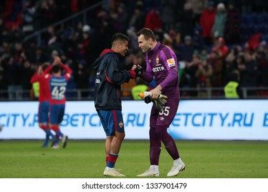 MOSCOW, RUSSIA - 09 MARCH, 2019. Arena CSKA. Ilzat Akhmetov and Igor Akinfeev in the football match of Russian Premier League 2018/2019 between CSKA (Moscow.Russia) and Rubin (Kazan. Russia)