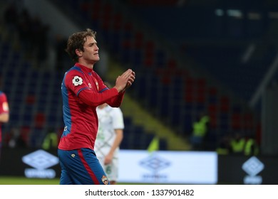 MOSCOW, RUSSIA - 09 MARCH, 2019. Arena CSKA. Mario Fernandes in the football match of Russian Premier League 2018/2019 between CSKA (Moscow.Russia) and Rubin (Kazan. Russia)