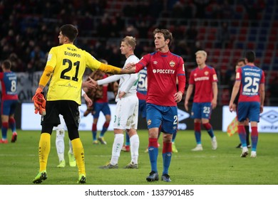 MOSCOW, RUSSIA - 09 MARCH, 2019. Arena CSKA. Egor Baburin and Mario Fernandes in the football match of Russian Premier League 2018/2019 between CSKA (Moscow.Russia) and Rubin (Kazan. Russia)
