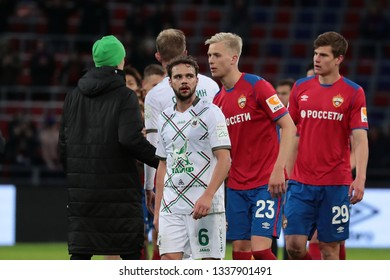 MOSCOW, RUSSIA - 09 MARCH, 2019. Arena CSKA. Evgeny Bashkirov, Hordur Magnusson &  Jaka Bijol in the football match of Russian Premier League 2018/2019 between CSKA (Russia) and Rubin (Russia)