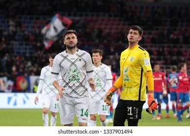 MOSCOW, RUSSIA - 09 MARCH, 2019. Arena CSKA. Vladimir Granat and Egor Baburin in the football match of Russian Premier League 2018/2019 between CSKA (Moscow.Russia) and Rubin (Kazan. Russia)