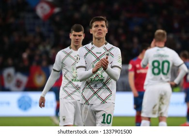 MOSCOW, RUSSIA - 09 MARCH, 2019. Arena CSKA. Dmitri Poloz in the football match of Russian Premier League 2018/2019 between CSKA (Moscow.Russia) and Rubin (Kazan. Russia)
