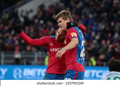 MOSCOW, RUSSIA - 09 MARCH, 2019. Arena CSKA. Nikola Vlasic and Jaka Bijol in the football match of Russian Premier League 2018/2019 between CSKA (Moscow.Russia) and Rubin (Kazan. Russia)