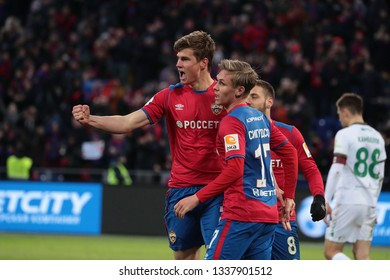 MOSCOW, RUSSIA - 09 MARCH, 2019. Arena CSKA. Jaka Bijol and Arnor Sigurdsson in the football match of Russian Premier League 2018/2019 between CSKA (Moscow.Russia) and Rubin (Kazan. Russia)