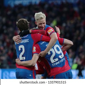 MOSCOW, RUSSIA - 09 MARCH, 2019. Arena CSKA. Players of CSKA in the football match of Russian Premier League 2018/2019 between CSKA (Moscow.Russia) and Rubin (Kazan. Russia)
