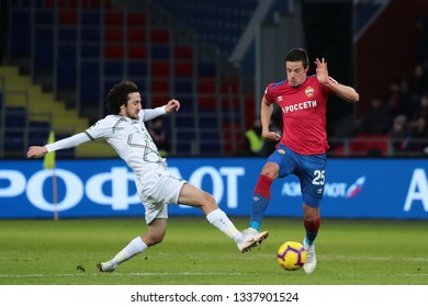 MOSCOW, RUSSIA - 09 MARCH, 2019. Arena CSKA. Khoren Bayramyan and Krisijan Bistrovic in the football match of Russian Premier League 2018/2019 between CSKA (Moscow.Russia) and Rubin (Kazan. Russia)