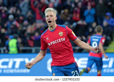 MOSCOW, RUSSIA - 09 MARCH, 2019. Arena CSKA. Hordur Magnusson in the football match of Russian Premier League 2018/2019 between CSKA (Moscow.Russia) and Rubin (Kazan. Russia)