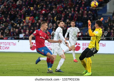 MOSCOW, RUSSIA - 09 MARCH, 2019. Arena CSKA. Fedor Chalov, Vladimir Granat & Egor Baburin in the football match of Russian Premier League 2018/2019 between CSKA (Russia) and Rubin (Russia)