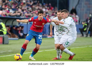 MOSCOW, RUSSIA - 09 MARCH, 2019. Arena CSKA. Krisijan Bistrovic and Igor Konovalov in the football match of Russian Premier League 2018/2019 between CSKA (Moscow.Russia) and Rubin (Kazan. Russia)