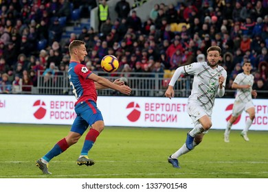 MOSCOW, RUSSIA - 09 MARCH, 2019. Arena CSKA. Fedor Chalov and Vladimir Granat in the football match of Russian Premier League 2018/2019 between CSKA (Moscow.Russia) and Rubin (Kazan. Russia)