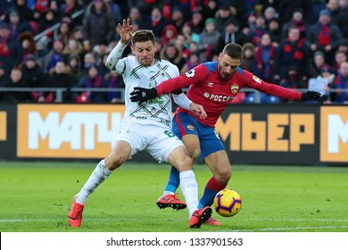 MOSCOW, RUSSIA - 09 MARCH, 2019. Arena CSKA. Ruslan Kambolov and Nikola Vlasic in the football match of Russian Premier League 2018/2019 between CSKA (Moscow.Russia) and Rubin (Kazan. Russia)