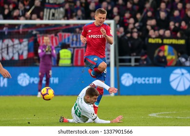 MOSCOW, RUSSIA - 09 MARCH, 2019. Arena CSKA. Ruslan Kambolov and Ivan Oblyakov in the football match of Russian Premier League 2018/2019 between CSKA (Moscow.Russia) and Rubin (Kazan. Russia)