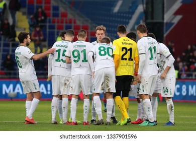 MOSCOW, RUSSIA - 09 MARCH, 2019. Arena CSKA. Players of Rubin in the football match of Russian Premier League 2018/2019 between CSKA (Moscow.Russia) and Rubin (Kazan. Russia)