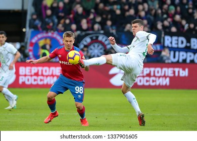 MOSCOW, RUSSIA - 09 MARCH, 2019. Arena CSKA. Ivan Oblyakov and Igor Konovalov in the football match of Russian Premier League 2018/2019 between CSKA (Moscow.Russia) and Rubin (Kazan. Russia)