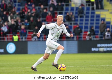 MOSCOW, RUSSIA - 09 MARCH, 2019. Arena CSKA. Vyacheslav Podberezkin in the football match of Russian Premier League 2018/2019 between CSKA (Moscow.Russia) and Rubin (Kazan. Russia)