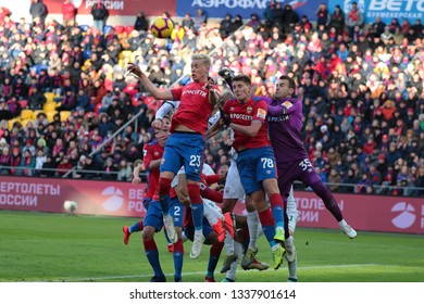 MOSCOW, RUSSIA - 09 MARCH, 2019. Arena CSKA. Hordur Magnusson, Igor Diveev & Igor Akinfeev in the football match of Russian Premier League 2018/2019 between CSKA (Russia) and Rubin (Russia)
