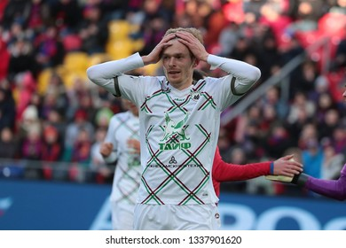 MOSCOW, RUSSIA - 09 MARCH, 2019. Arena CSKA. Pavel Mogilevets in the football match of Russian Premier League 2018/2019 between CSKA (Moscow.Russia) and Rubin (Kazan. Russia)