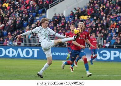MOSCOW, RUSSIA - 09 MARCH, 2019. Arena CSKA. Pavel Mogilevets and Hordur Magnusson in the football match of Russian Premier League 2018/2019 between CSKA (Moscow.Russia) and Rubin (Kazan. Russia)