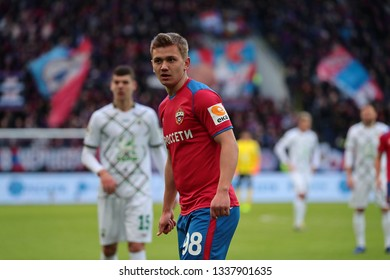 MOSCOW, RUSSIA - 09 MARCH, 2019. Arena CSKA. Ivan Oblyakov in the football match of Russian Premier League 2018/2019 between CSKA (Moscow.Russia) and Rubin (Kazan. Russia)