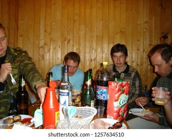 Moscow, RUSSIA - 09 SEPTEMBER 2007: University students holiday in the dacha house before the diploma